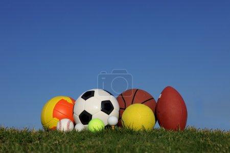 Set of different sports balls