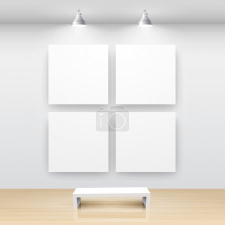 Illustration for Gallery Interior with empty frame on wall - Royalty Free Image