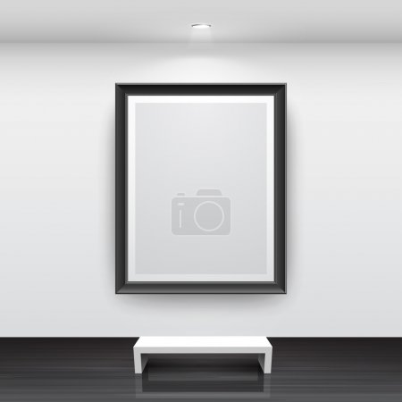 Illustration for Gallery Interior with empty black frame on wall - Royalty Free Image