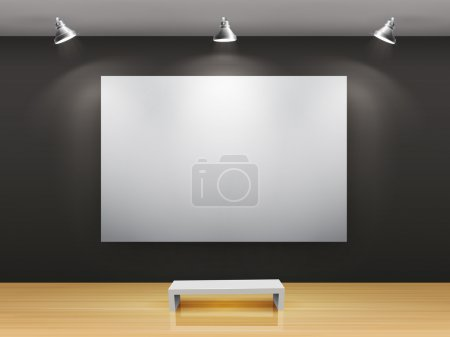 Illustration for Dark gallery Interior with empty frame on wall - Royalty Free Image