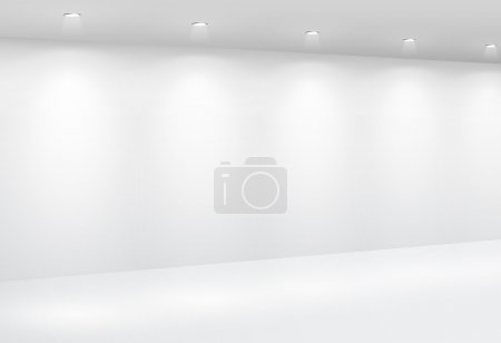 Illustration for Gallery Interior with empty wall and lights - Royalty Free Image
