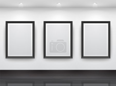 Illustration for Gallery Interior with empty black frameN? on wall - Royalty Free Image