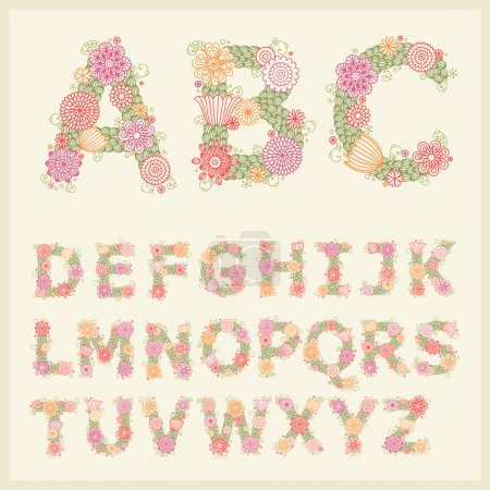 Illustration for Vector colorful flower font. Vector Illustration - Royalty Free Image