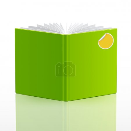 Open book with green cover and sticker. Vector ill...