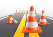 Road with under construction traffic cones Vector illustration