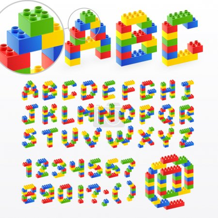 Illustration for Colorful brick toys font with numbers. Vector illustration. - Royalty Free Image