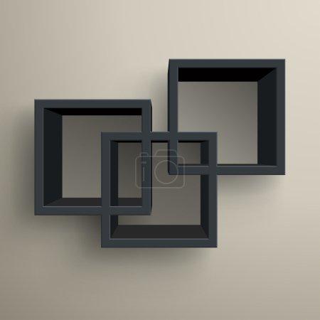 3d isolated Empty black bookshelf