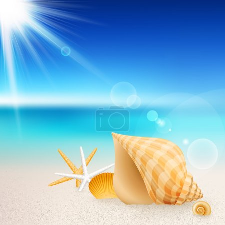 Illustration for Shells and starfishes on the beach. Vector illustration. - Royalty Free Image