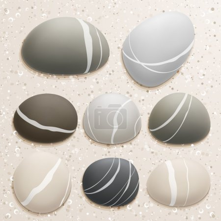 Illustration for Sea stones collection on sand background. Vector illustration. - Royalty Free Image
