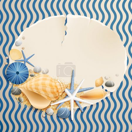 Illustration for Vintage greeting card with shells and starfishes and place for text. - Royalty Free Image