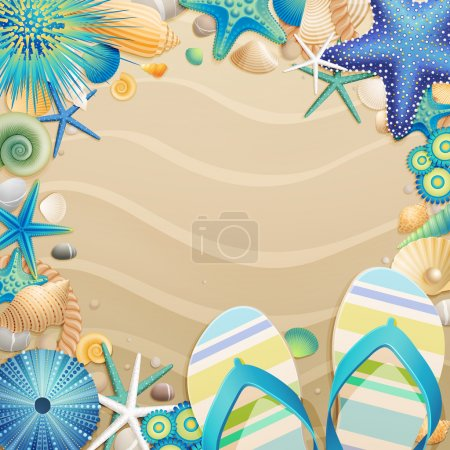 Photo for Flip-flops and shells frame on the beach. Vector illustration. - Royalty Free Image