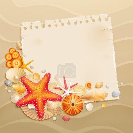Ilustración de Tarjeta de felicitación de vendimia con conchas y estrellas de mar sobre fondo de arena. ilustración vectorial. - Imagen libre de derechos