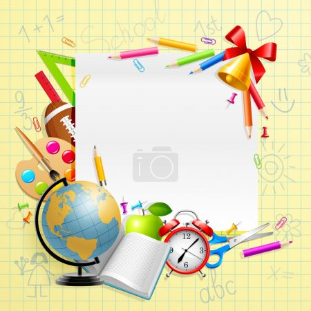 Illustration for Back to school background with stationery and place for text. Vector illustration - Royalty Free Image