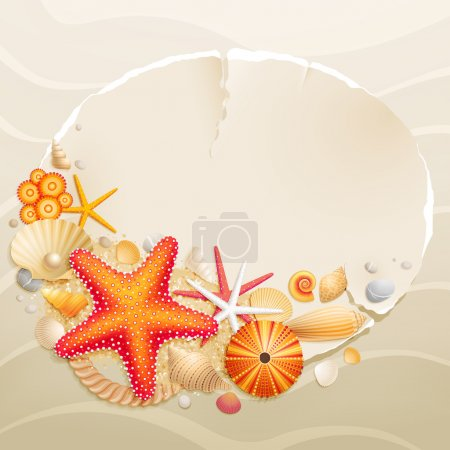 Illustration for Vintage greeting card with shells and starfishes on sand background. Vector illustration. - Royalty Free Image