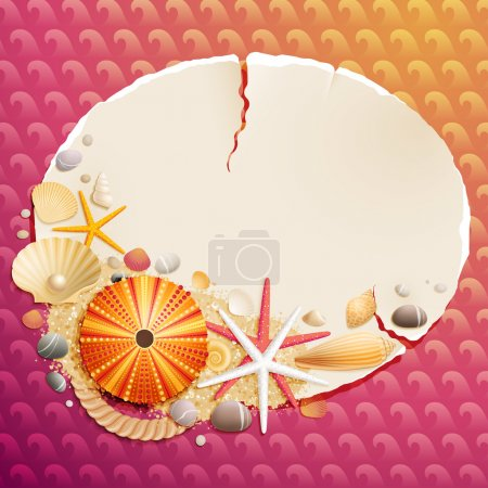 Illustration for Vintage greeting card with shells and starfishes and place for text - Royalty Free Image