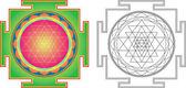 Vector Shri Yantra (or Sri Yantra) for Meditation  Color and