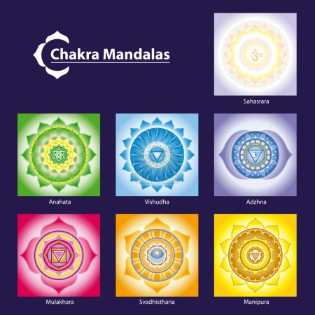 Illustration for Vector Chakra Symbol Mandalas for Meditation to Facilitate Growth and Healing - Royalty Free Image