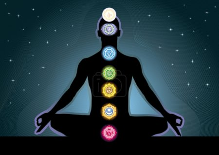 Illustration for The location of the chakras on the human body, vector image - Royalty Free Image