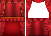 Four backgrounds with red theater curtains Vector illustration