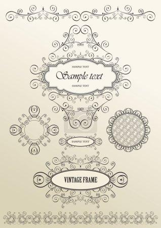 Illustration for Set of ornate vector frames and ornaments with sample text, elegant vintage label, vector illustration - Royalty Free Image