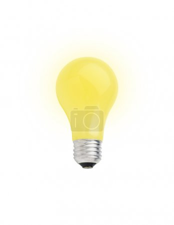 Foto de Yellow lightbulb isolated on white [with clipping path] - Imagen libre de derechos