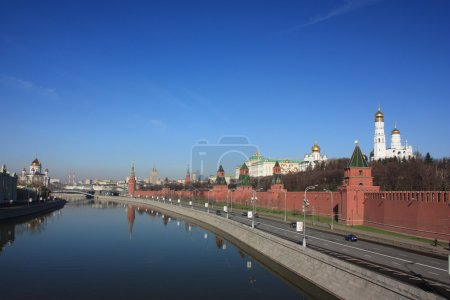 Russia, Moscow. Panorama of the Moscow Kremlin.