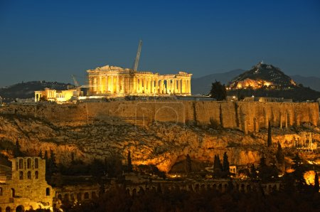 Photo for Acropolis and Lycabettus Hill in the background, Athens, Greece - Royalty Free Image