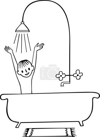 Boy having shower