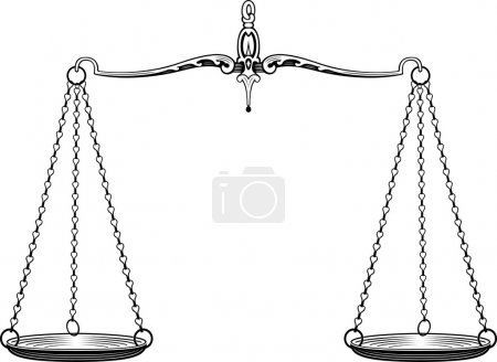 Illustration for Pair of old scales on white background - Royalty Free Image