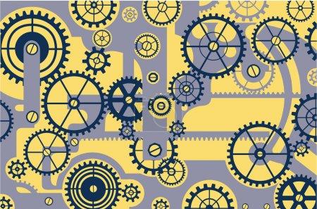 Illustration pour Éléments de mécanisme sur fond jaune - image libre de droit