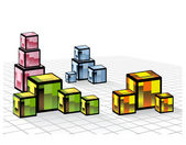 Abstract composition of a set of colored cubes