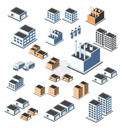 Photo for A set of urban and industrial buildings in the isometric - Royalty Free Image
