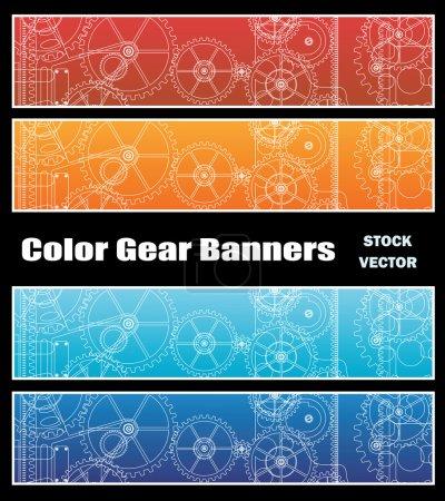 Illustration pour Différentes options de couleurs pour les bannières avec engrenages - image libre de droit