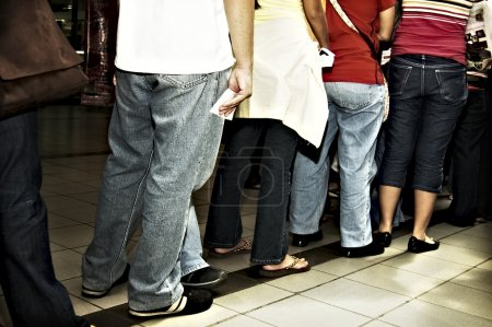 Photo for Standing in line inside a mall - Royalty Free Image