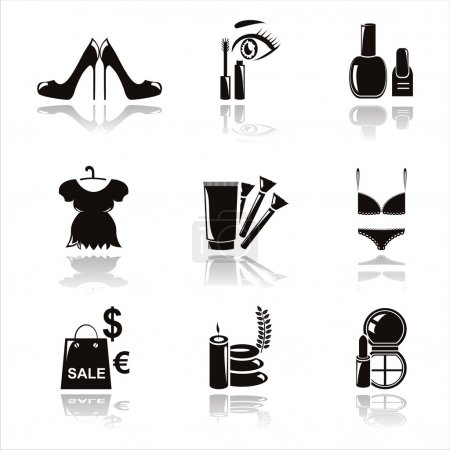 Illustration for Set of 9 black beauty and fashion icons - Royalty Free Image