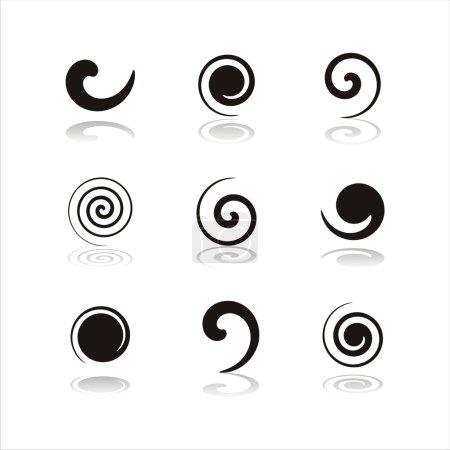 Black swirl icons