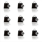 Black shopping bags icons