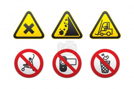 Illustration for Warning Hazard and Prohibited Signs set vector - Royalty Free Image