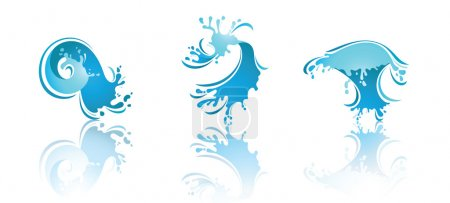 Illustration for Splashing Waves and Water with reflection. Second set icons - Royalty Free Image