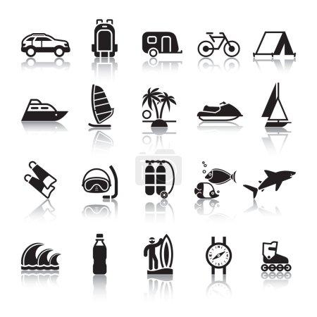 Foto de Signos. Turismo. viajes. deportes. cuarto set iconos negros con reflexión - Imagen libre de derechos