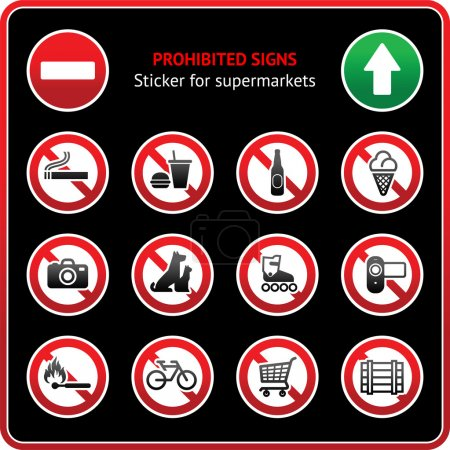 Prohibited Signs. Sticky label for supermarkets
