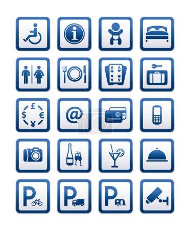 Illustration pour Services hôtel de symboles. signes motel set services, vector - image libre de droit