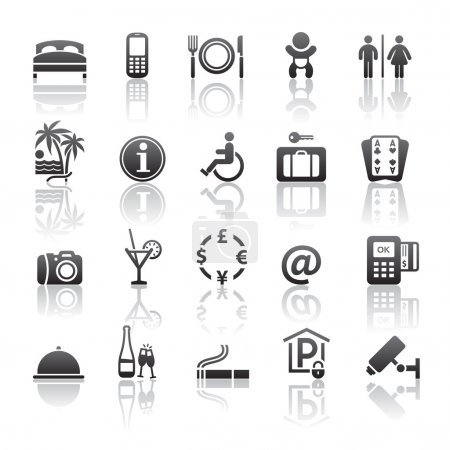 Pictograms hotel services. Icons set motel services. Gray reflection