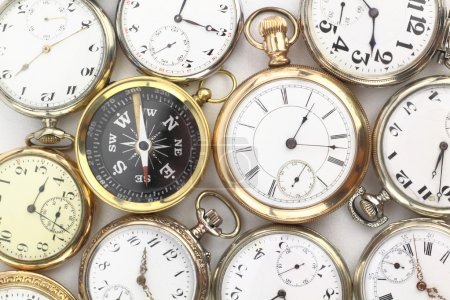 Various Antique pocket watches and a compass