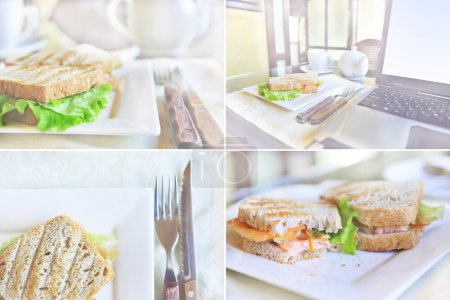 Collage of photos with sandwiches