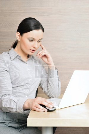 Portrait of a beautiful young businesswoman on the computer, tou