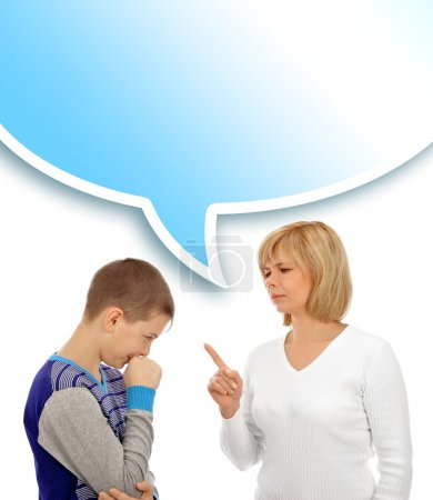 Photo for Portrait of a beautiful young woman and her son having conversation against white background - Royalty Free Image
