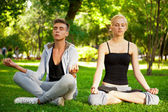 Portrait of young beautiful couple sitting in lotus pose on gree