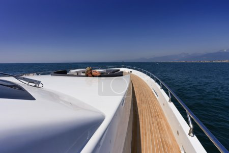 Italy, Tirrenian sea, off the coast of Viareggio, Tuscany, luxury yacht Tec