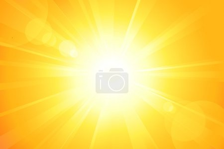Illustration for Summer background with a magnificent sun burst with lens flare. No transparencies, eps8 file. Artwork grouped and layered. - Royalty Free Image